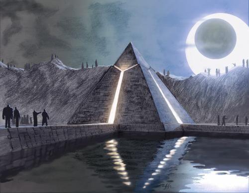 Egypt Warrior Illustration Anubis Pyramid Fantasy Art: Egyptian Pyramids Aliens