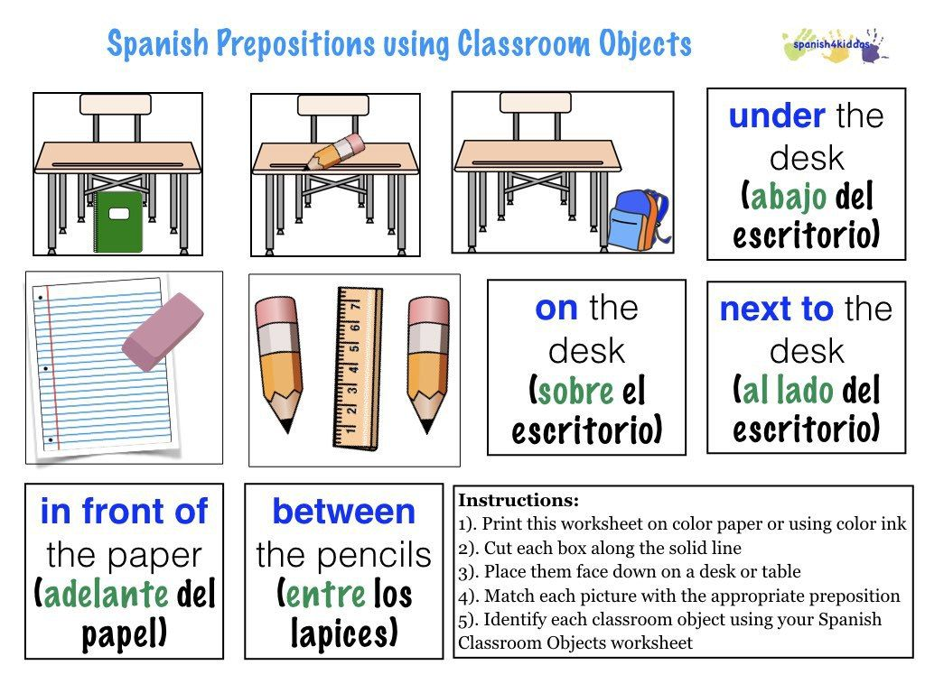 Spanish Prepositions Using Classroom Objects