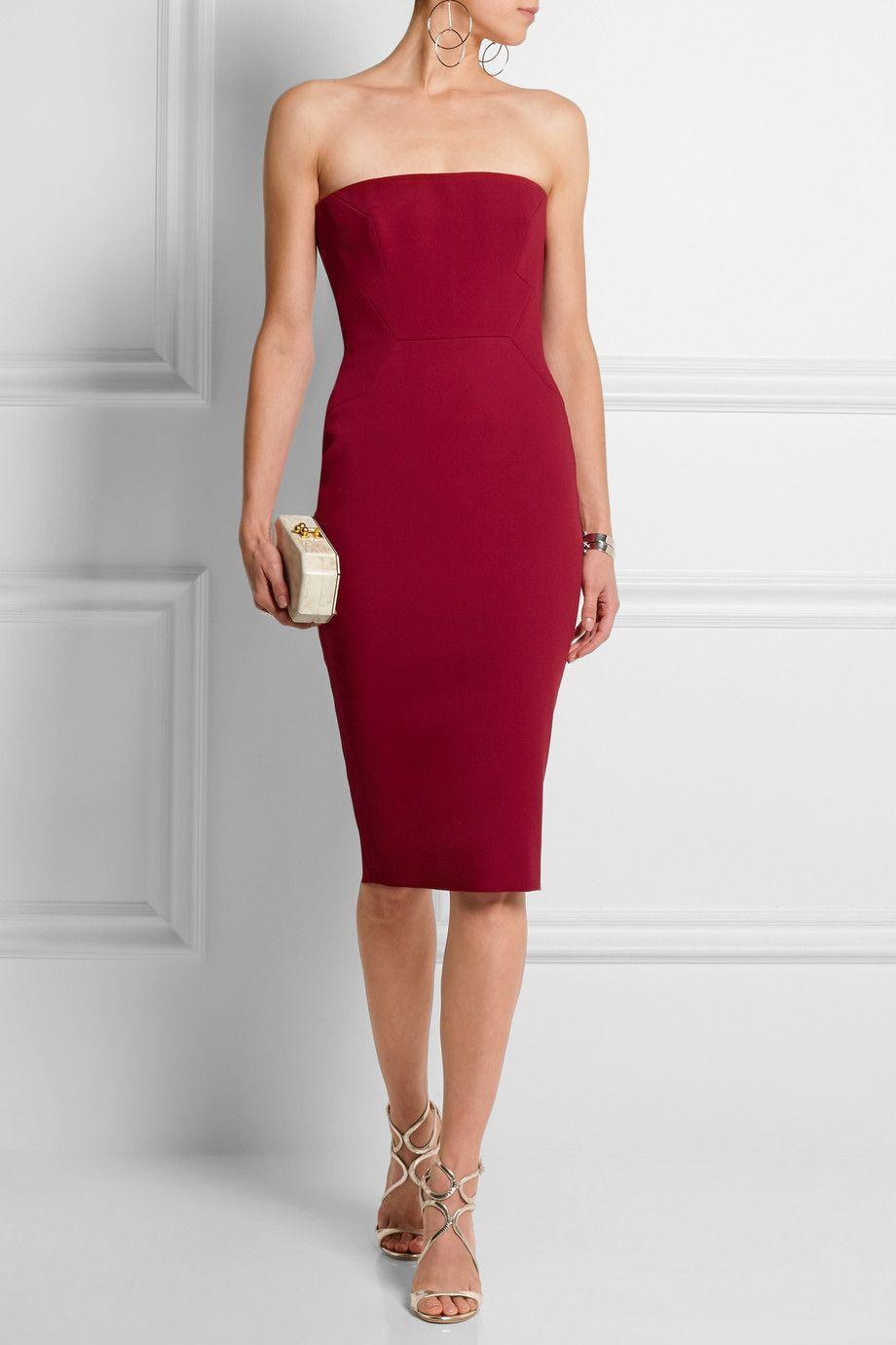 Claret Strapless Wool Crepe Dress Victoria Beckham Corset Style Dresses Dresses Red Dresses Classy [ 1380 x 920 Pixel ]
