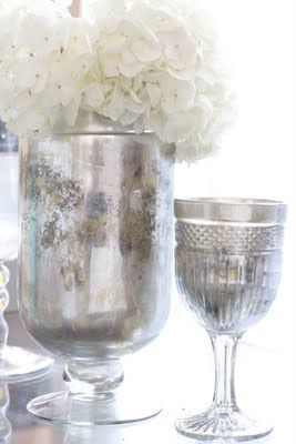 Diy Antique Silvered Vase These Were Plain Old Glass