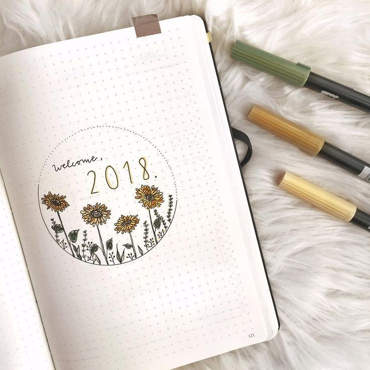 Bullet journal yearly cover page, sunflower drawing. #septemberbulletjournalcover