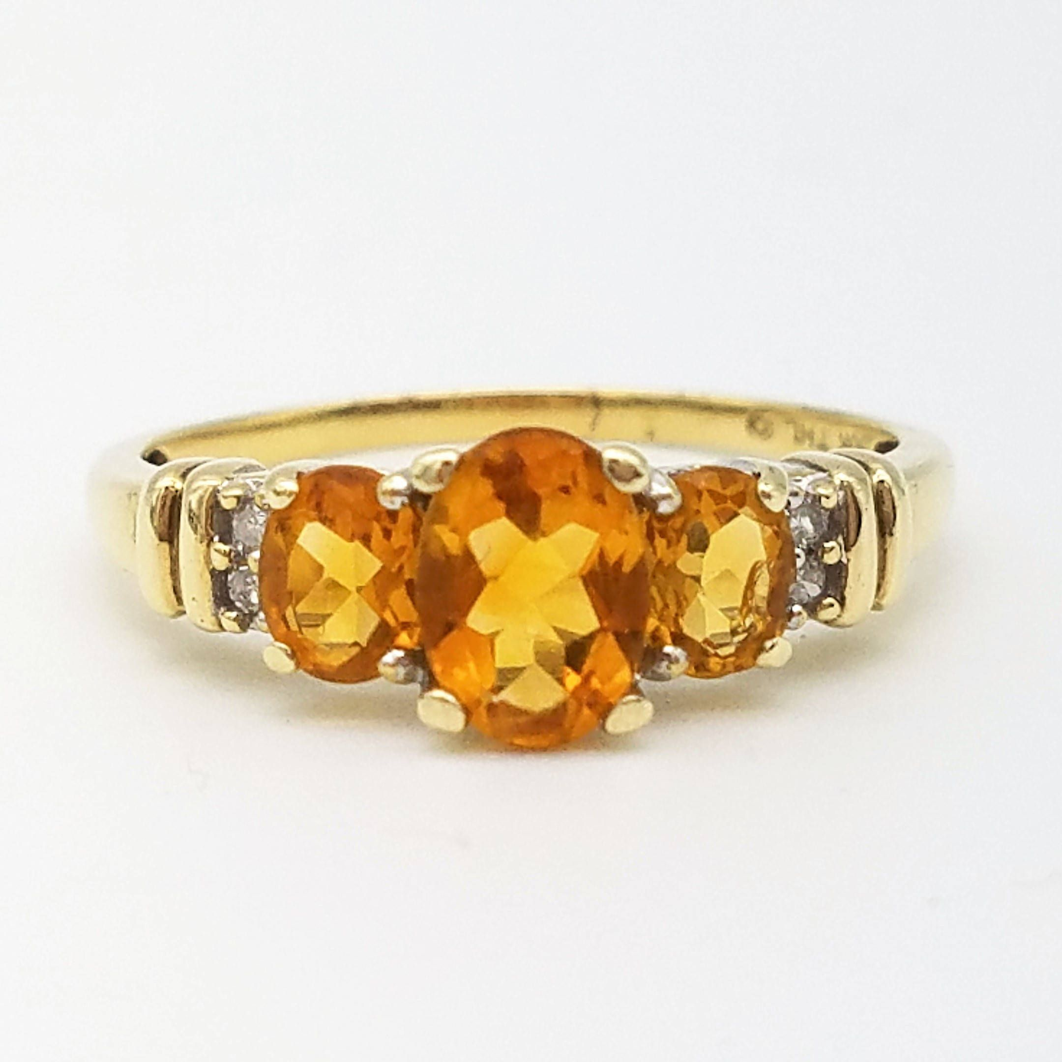 Vintage 3 Stone Orange Citrine Diamond Ring In 10k Yellow Gold By Thingsgrandmakept1 On Etsy Yellow Gold Citrine Rings