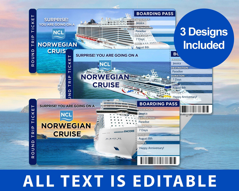 Norwegian Cruise Line Surprise Trip Ticket Editable Ticket Etsy Norwegian Cruise Line Norwegian Cruise Cruise