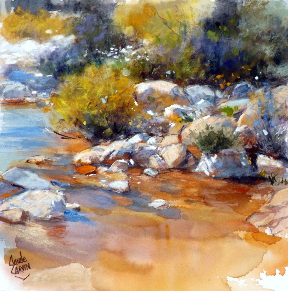 Au Bord De L Eau Peinture 30x30 Cm Par Claude Carvin Pastel Sec
