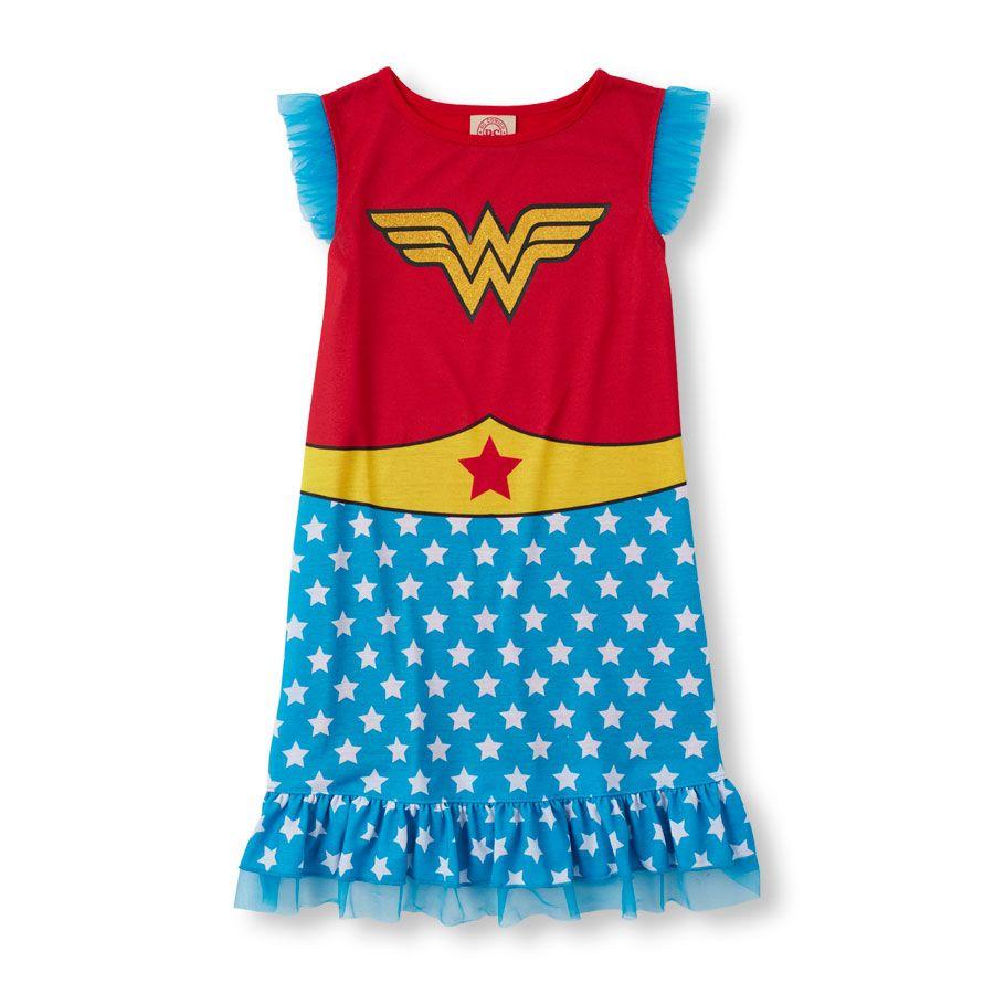 f2f7b4c5b6 Girls Short Sleeve Wonder Woman Nightgown