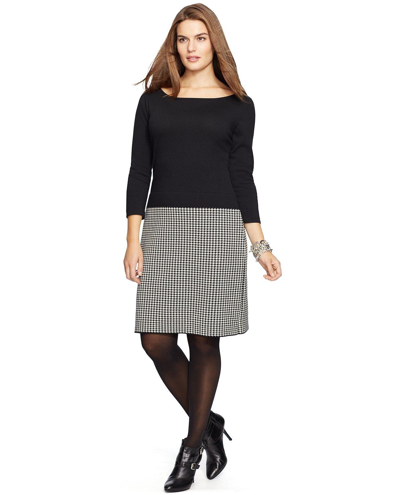 Lauren Ralph Lauren Plus Size Checked Sweater Dress