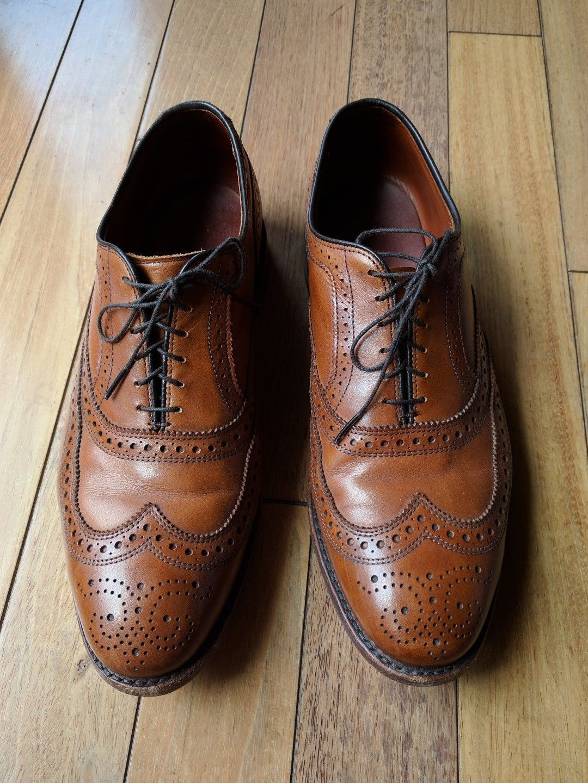 b99a2cee844 allen edmonds mcallister 9 5 mens shoes wingtips oxfords tan brown allen  edmonds shoes Allen Edmonds