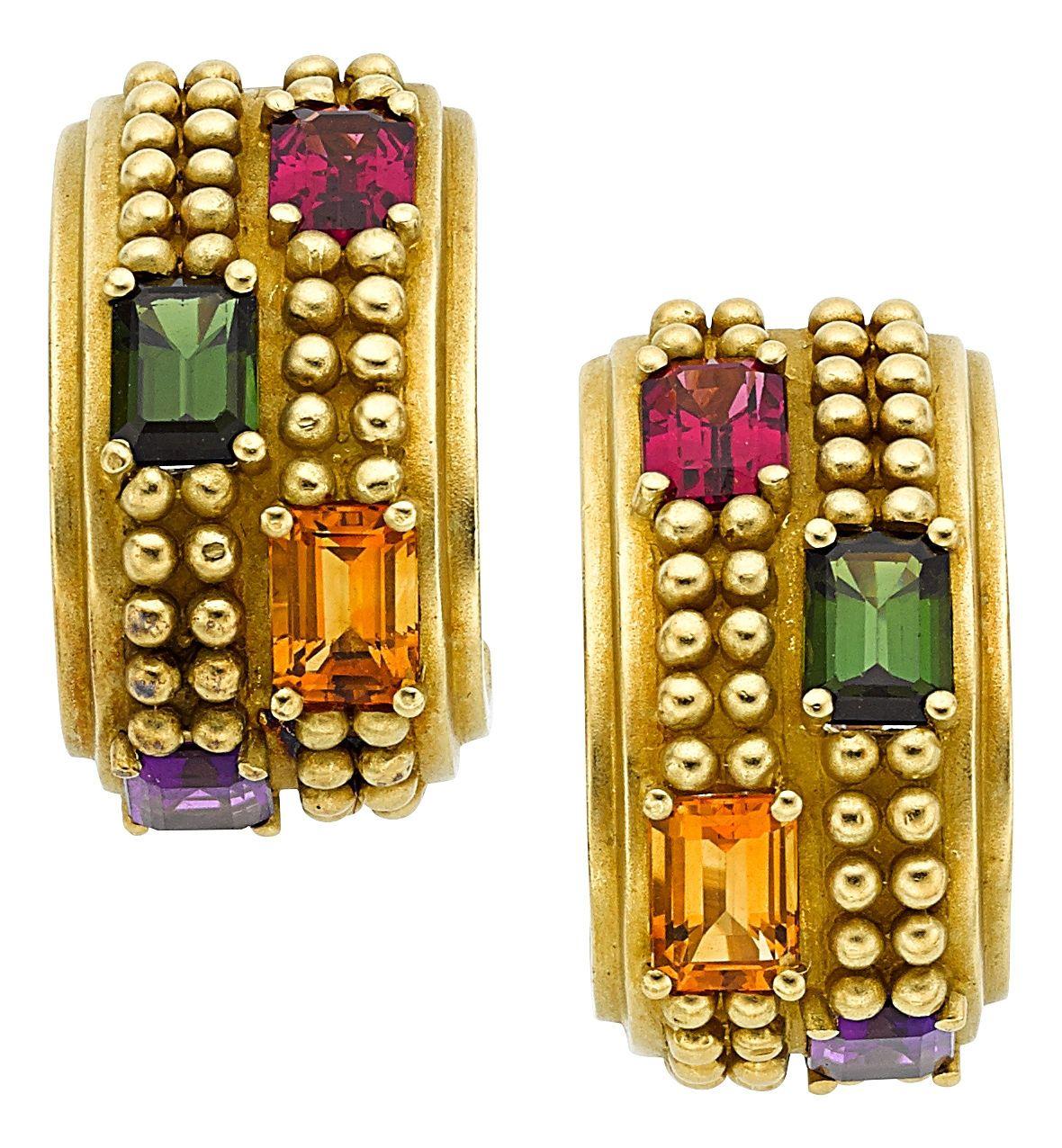Multi-Stone, Gold Earrings, Kieselstein-Cord