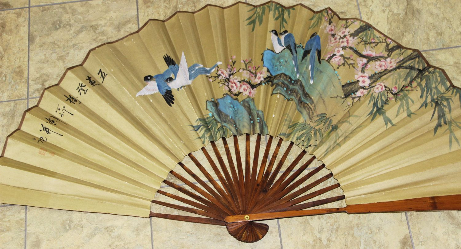 Chinese Fan Large Wall Hanging Bamboo Hand Painted Signed Hand Painted Signs Painted Signs Wall Hanging