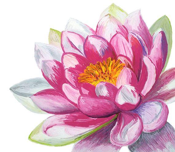 Affiche De Lotus Peinture De Fleur De Lotus Decor De Studio D