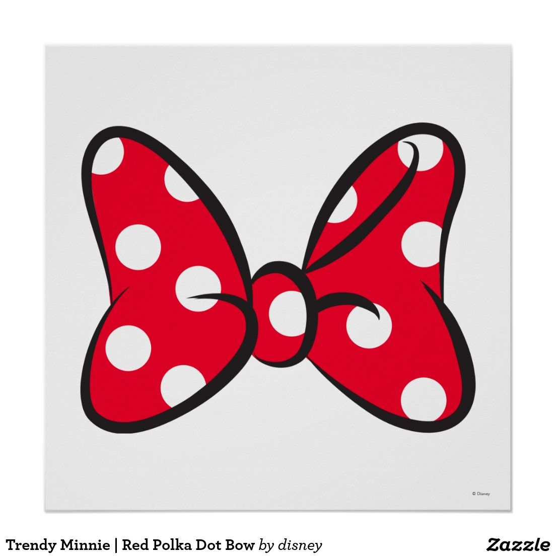 Trendy Minnie Red Polka Dot Bow Poster Zazzle Com In 2021 Minnie Mouse Template Minnie Mouse Bow Minnie