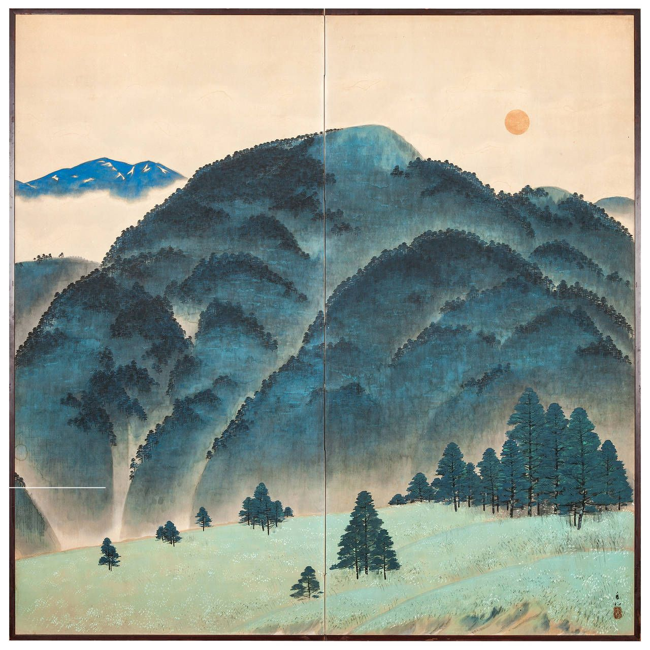 Antique japanese screens for sale - View This Item And Discover Similar Paintings And Screens For Sale At Japanese Screen Blue Mountain Landscape Two Panel Screen With Artist Signature And