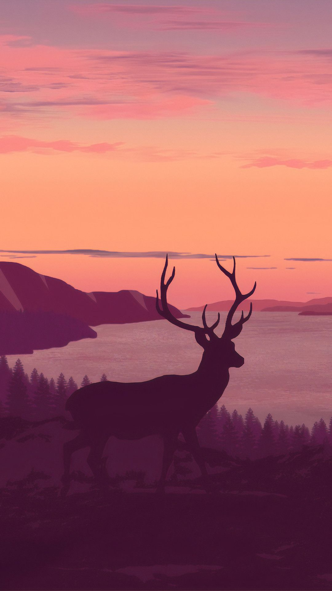 Reindeer Minimalist Call Of Sunset 4k Mobile Wallpaper