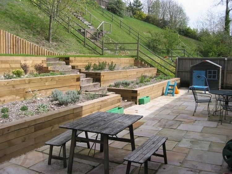 Amenagement Jardin Sur Pente Raide Terrasses Revetues Bois