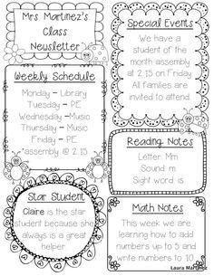 classroom schedule template for teachers editable class newsletter