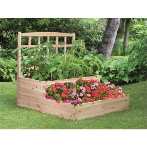 cedar 2 tier raised garden bed with trellis sturdy planter box limited quantity garden ideas. Black Bedroom Furniture Sets. Home Design Ideas