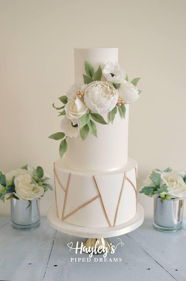 White & Gold Geometric Wedding Cake