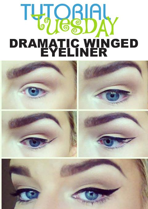Winged Eyeliner Tutorial Step By Step: Dramatic Winged Eyeliner On Pinterest