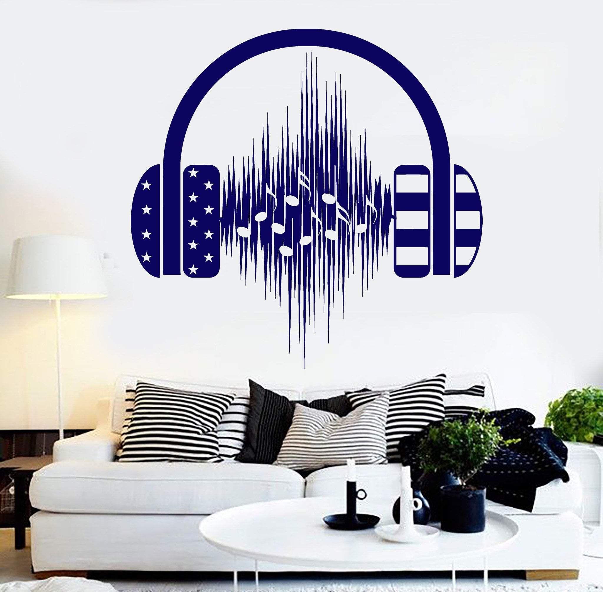 Music Life Sticker Decal Vinyl Headphones Wall Quote Inspiration Musicians Decor