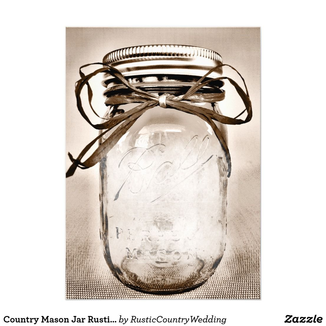 Country Mason Jar Rustic Invitation Blank Template  Zazzle.com