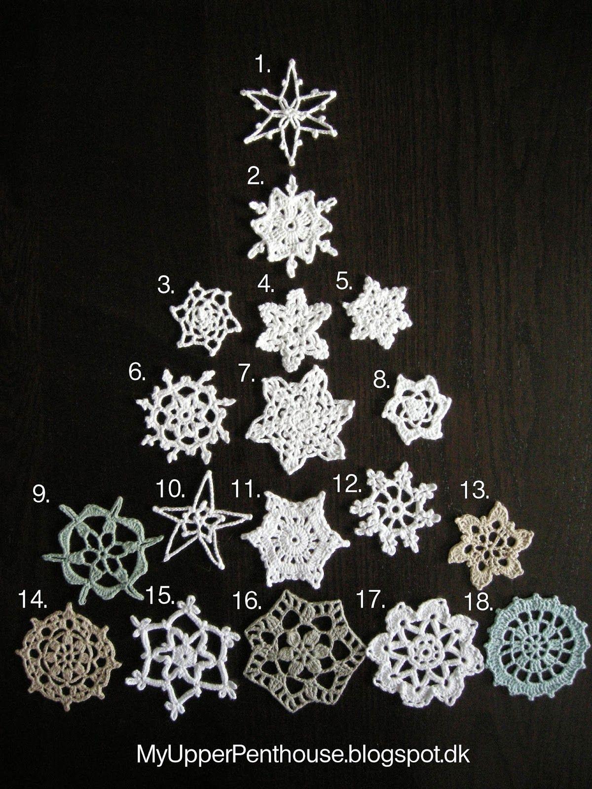 MyUpperPenthouse: Sneflokke kommer vrimlende.......... hæklede snefnug, ver. 2