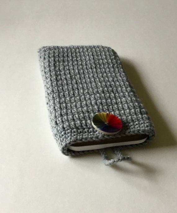 Crocheted IPhone 6plus pouch I phone 6 plus by KnitandLoomstudio