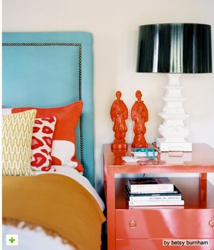 rooms with turquoise and orange | Orange and turquoise | Living room- Orange & Turquoise