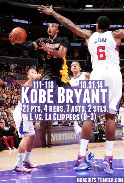 a60c88a1 Kobe Bryant - 10.31.14 - L vs. Los Angeles Clippers | Black Mamba ...