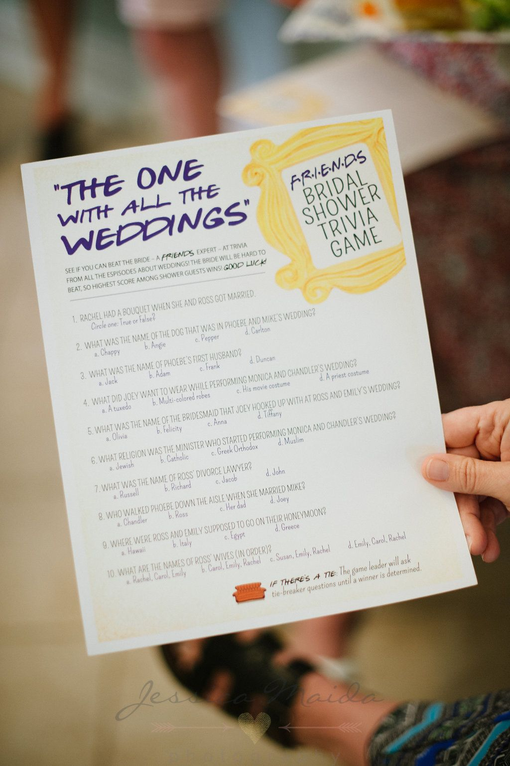 the one with all the weddings what a fun shower game idea