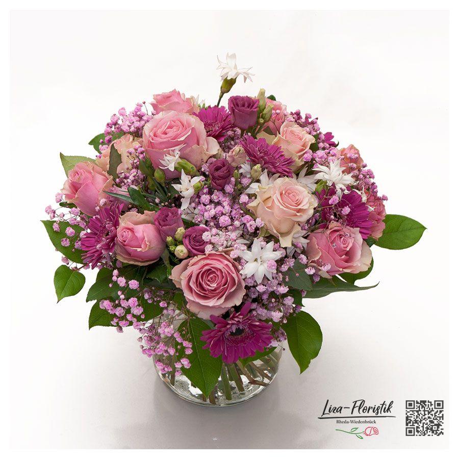blumenstrauß mit rosen gerbera lisianthus und