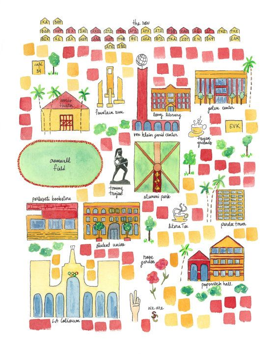 University Of Southern California Illustrated Campus Map By