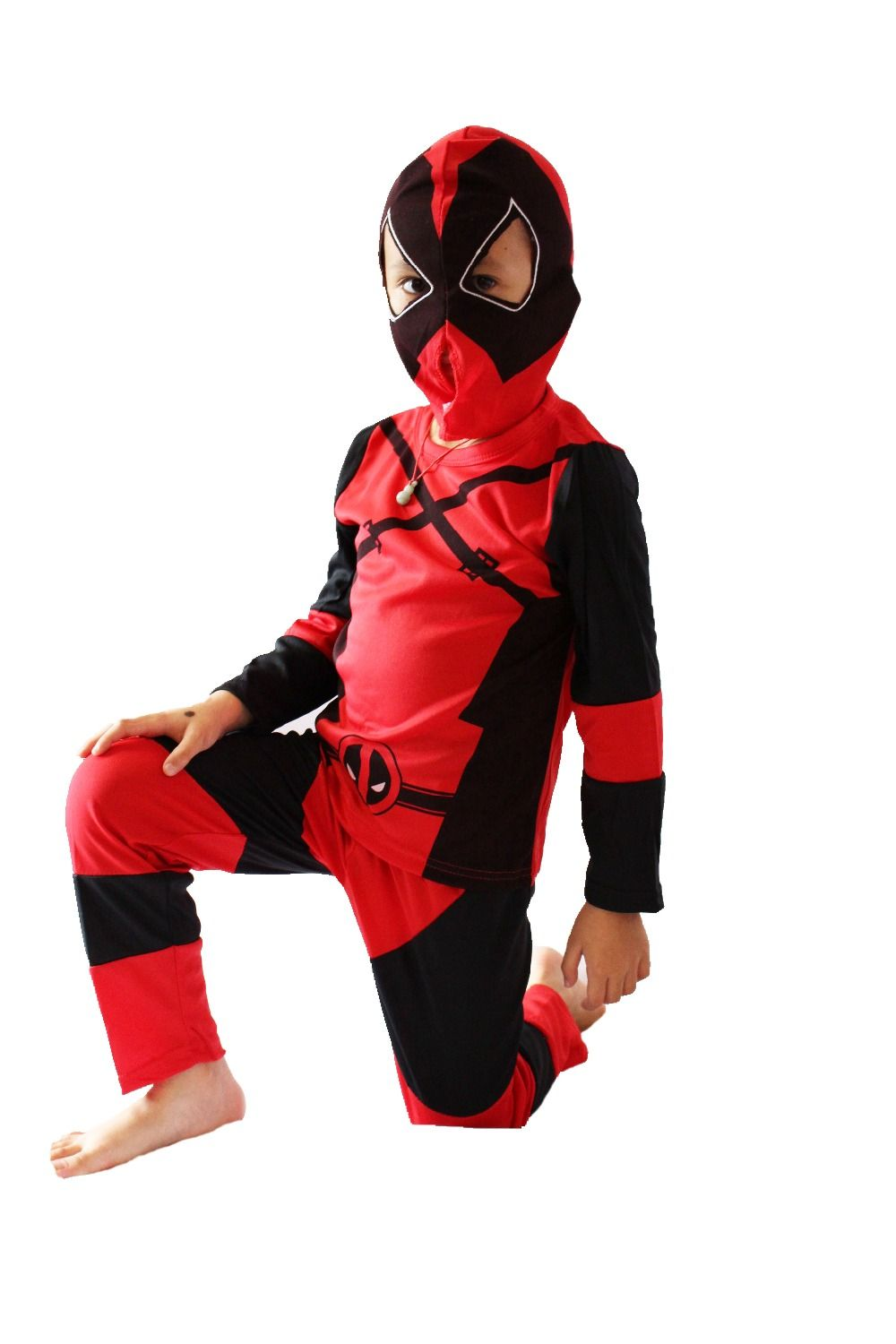 Red 3 -7 Years Boy Deadpool model Role-playing cosplay,Halloween ...