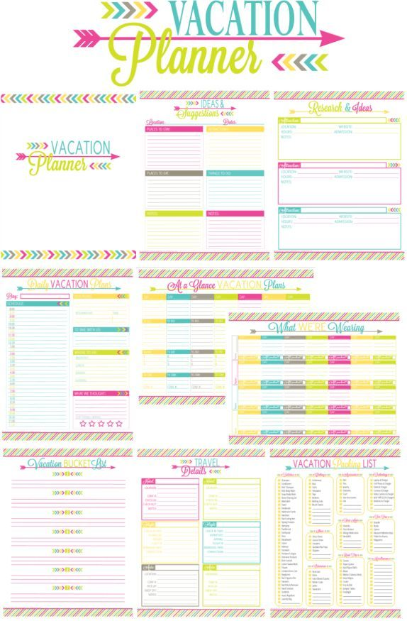 Take your trip with Glamulet charmsPrintable Vacation Planner and - vacation schedule template