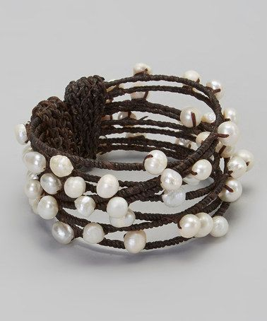Look what I found on #zulily! Brown & Ivory Pearl Cuff #zulilyfinds