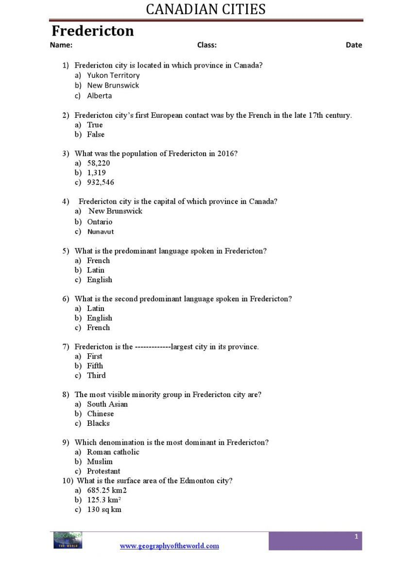 Canadian geography worksheets pdf