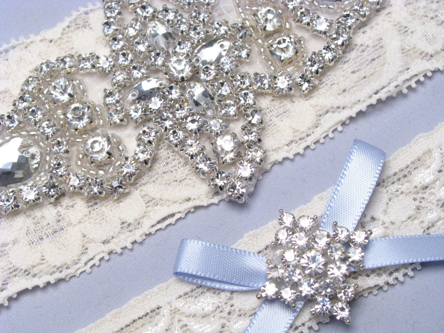 Something blue wedding garters ivory white by loveforeverbridal