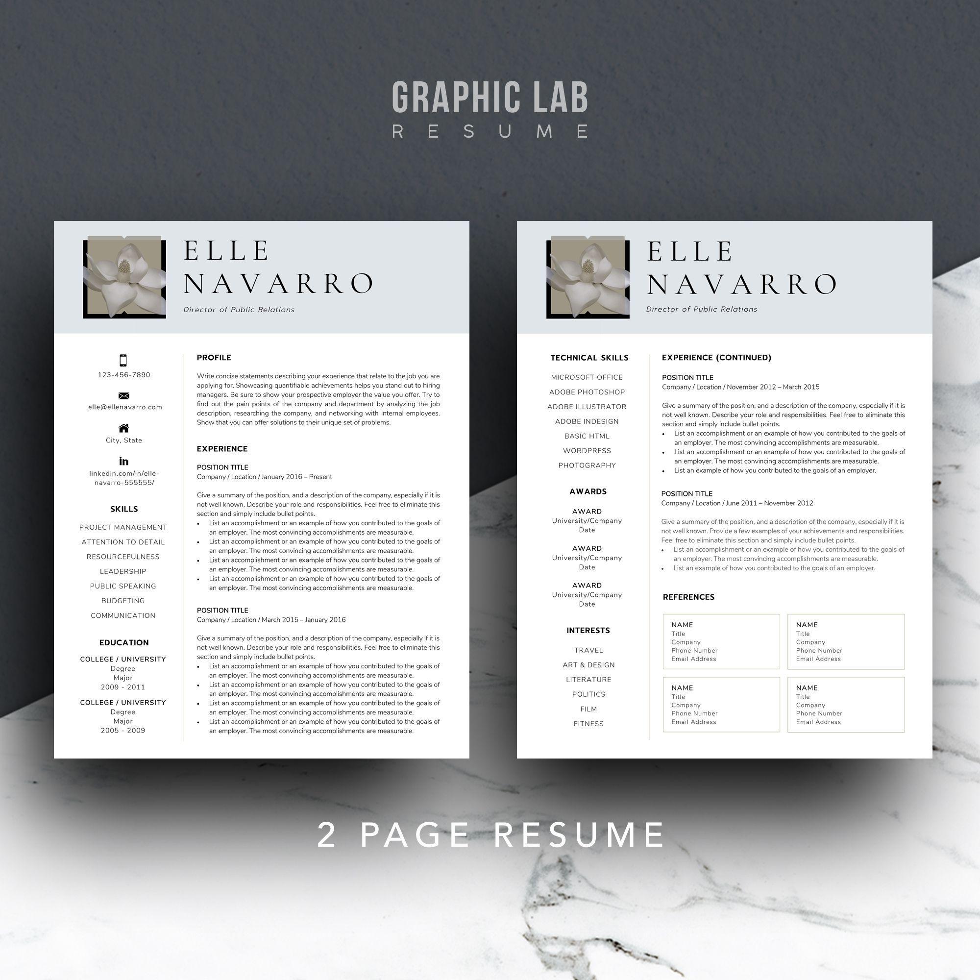 2 page stunning modern resume template resume design