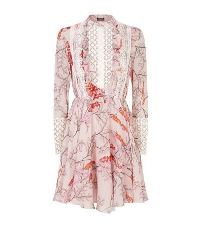 GIAMBATTISTA VALLI Mimosa Print Lace Trim Ruffle Dress. #giambattistavalli #cloth #