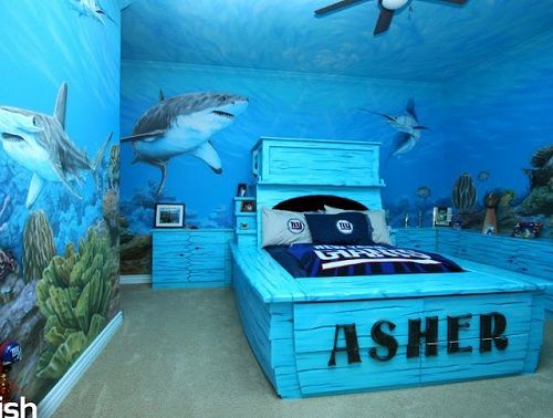 Boy Room Ideas Underwater With Images Blue Themed Bedroom