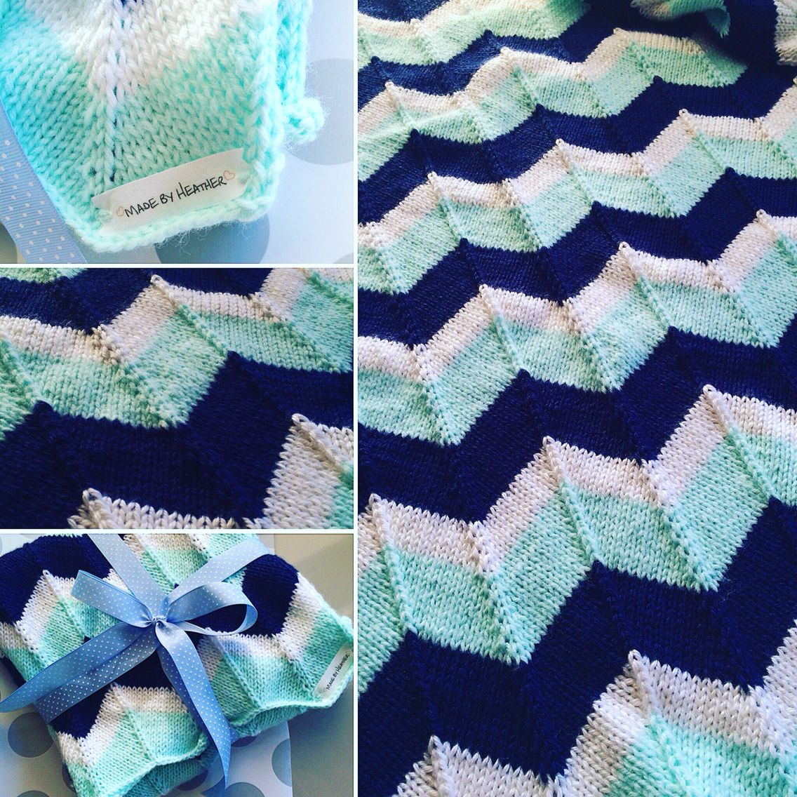 Mint and Blue neutral Chevron Knit Baby Blanket | Made by Hand ...