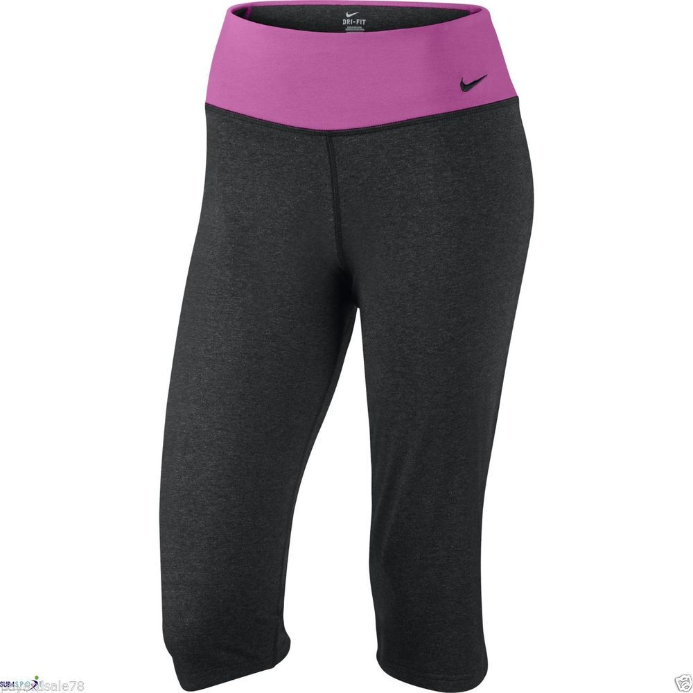 WOMEN'S NIKE LEGEND 2.0 YOGA CAPRI PANTS REGULAR FIT SIZE LARGE WORK OUT DRI -FIT