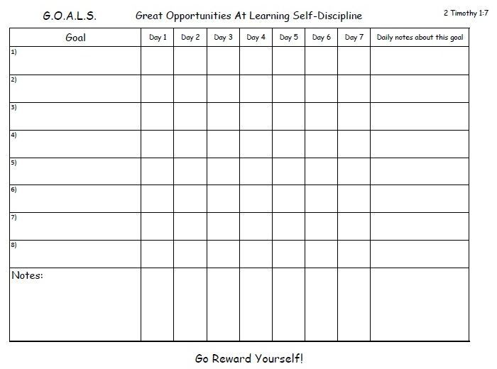 photo regarding Printable Goal Charts named A weekly objective chart in the direction of assist oneself choose into the routine and guidance