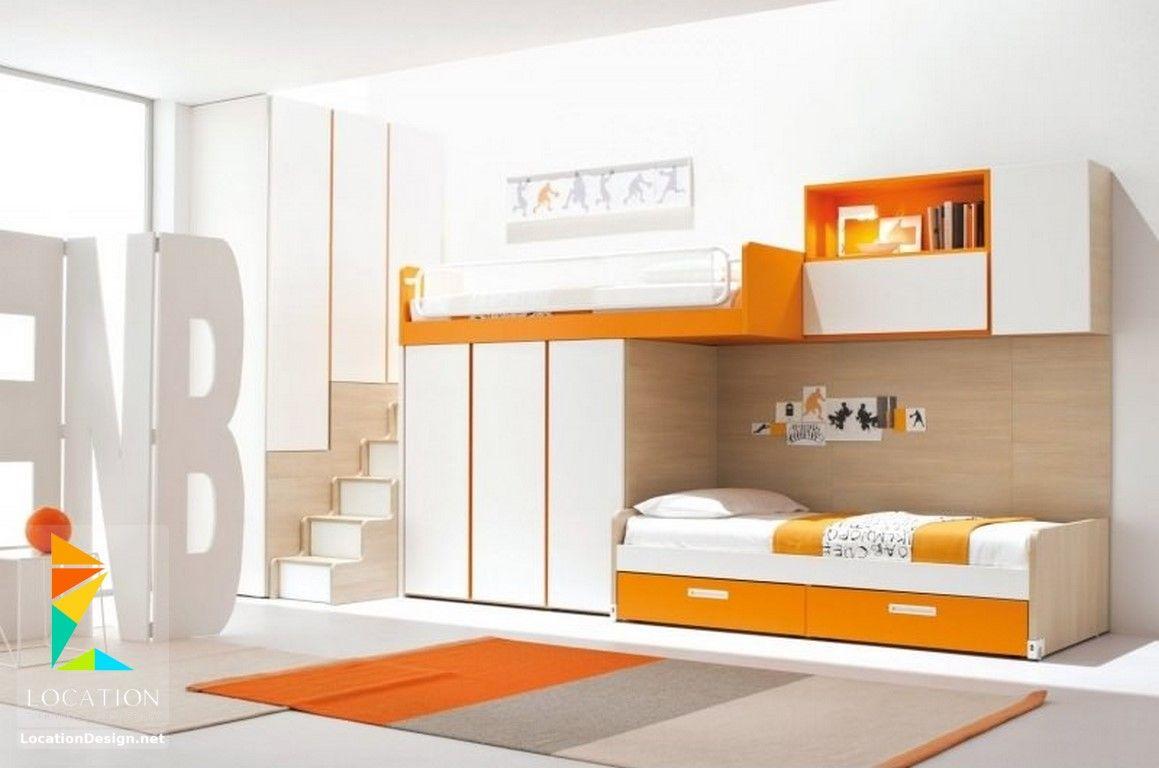 كتالوج غرف نوم أطفال باللون البرتقالي Modern bunk beds