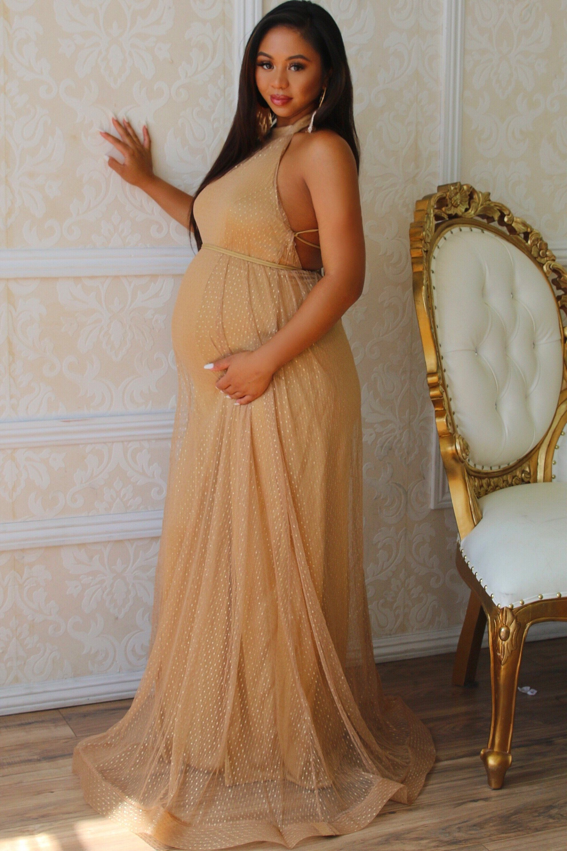 Arabella Gown in 8  Gold maternity dresses, Cute maternity