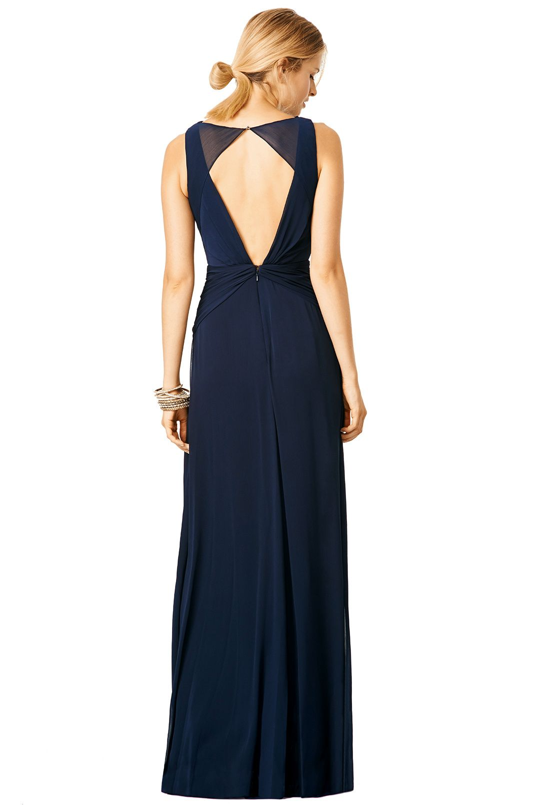 Floor length navy gown with key hole and open back // Navy Petunia ...
