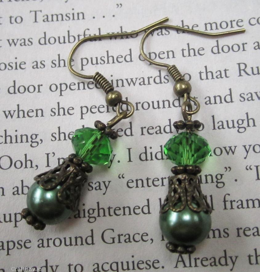 Description Beautiful Green Drop Dangle Bronze Plated Fashion ...