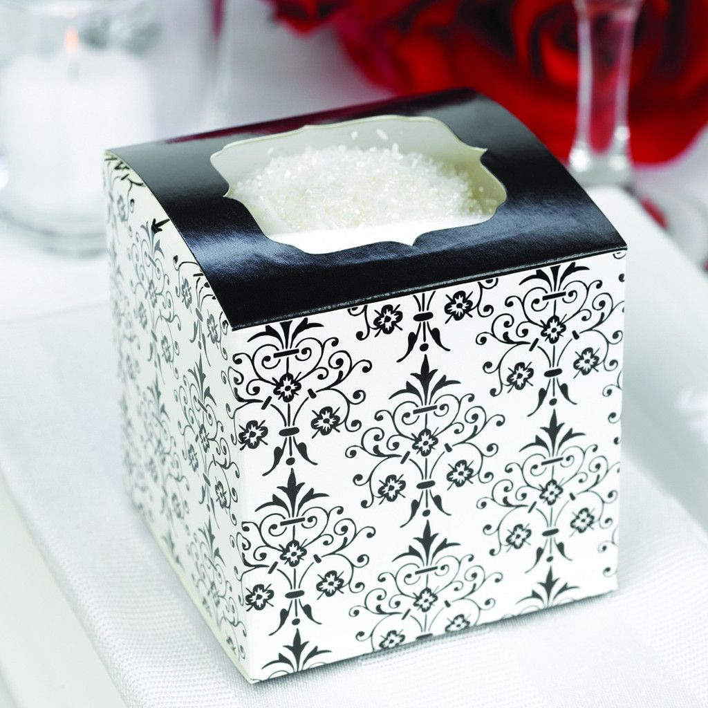 Filigree Black and White Cupcake Wedding Favor Box with a window on ...