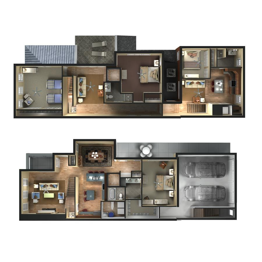 3d Townhome Floor Plan Rendering D Plans Drawings Pinterest Architecture Portfolio