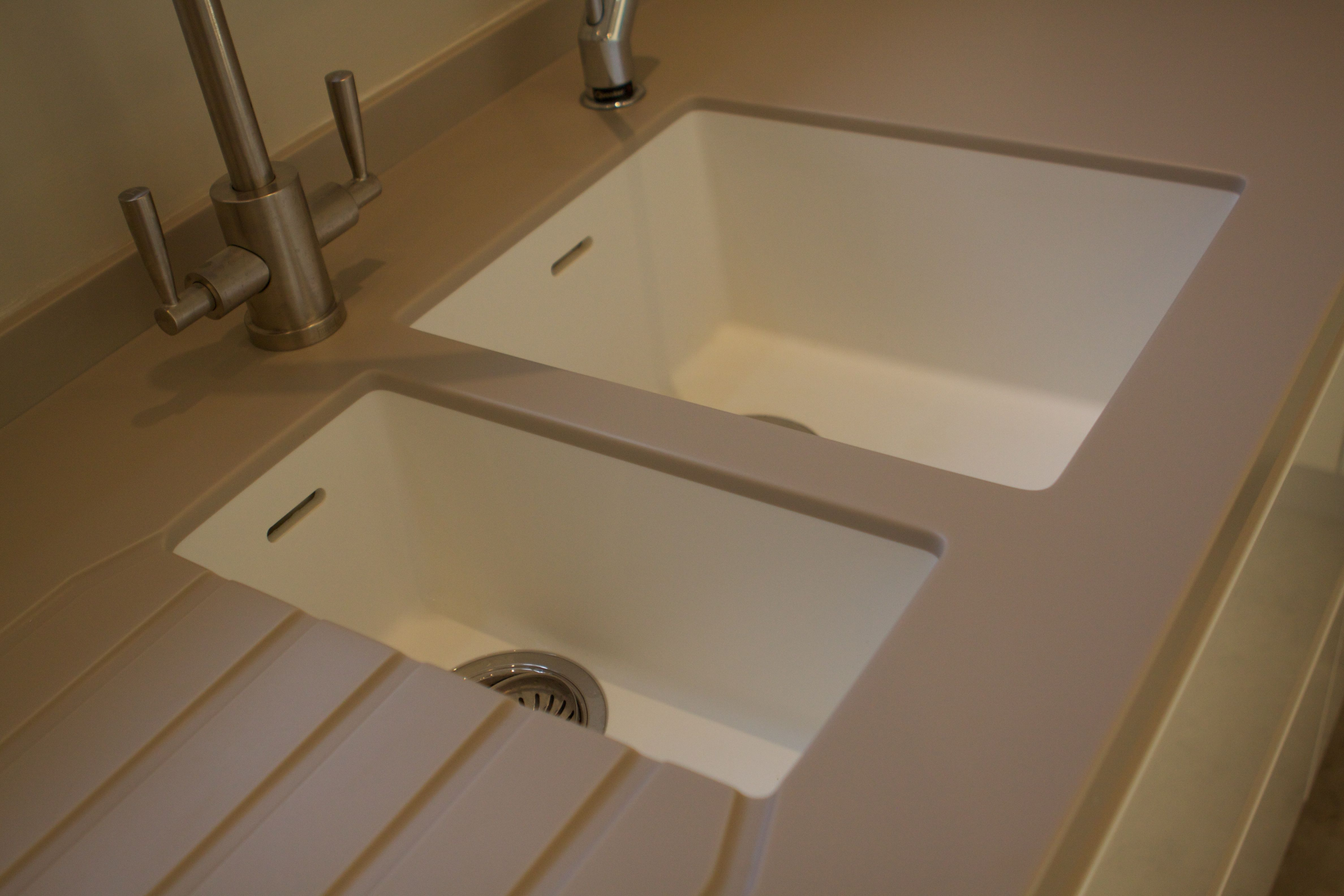 967 969 corian sinks in glacier white kitchen remodel - Corian bathroom sinks and countertops ...