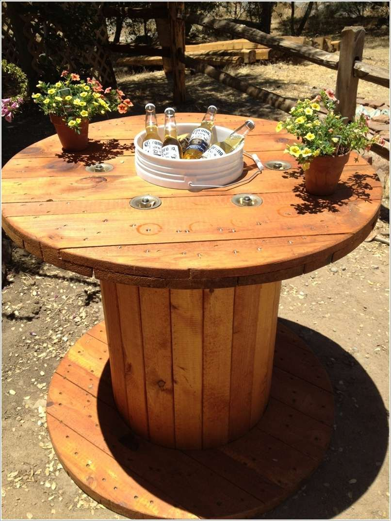 Outdoor Spaces · Home Depot Bucket Cooler Table
